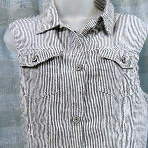 Kenar Linen Sleeveless Striped Linen Top